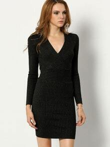 Black V Neck Long Sleeve Bodycon Dress