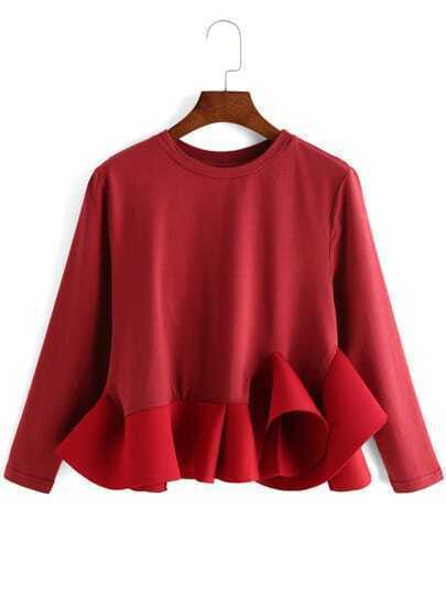 Burgundy Round Neck Ruffle Crop Blouse