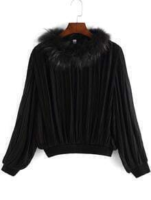 Black Faux Fur Collar Ruched Crop Top