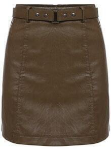Khaki Belt PU Skirt