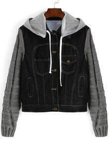 Black Grey Hooded Sweater Sleeve Denim Coat
