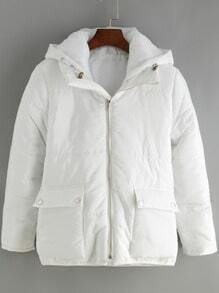 White Hooded Long Sleeve Pockets Coat