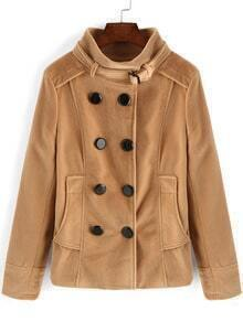 Khaki Stand Collar Double Breasted Coat