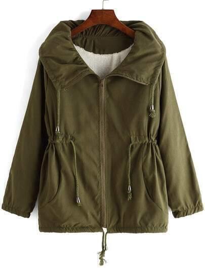Army Green Lapel Drawstring Loose Coat