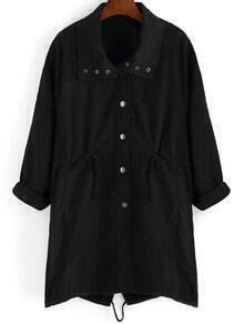 Black Lapel Drawstring Waist Trench Coat
