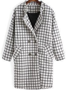 White Black Plaid Double Breasted Woolen Coat