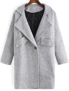 Grey Lapel Single Button Woolen Coat