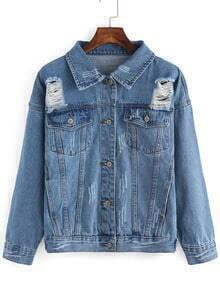 Blue Lapel Buttons Ripped Denim Coat