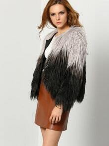 Black Grey Faux Fur Crop Coat