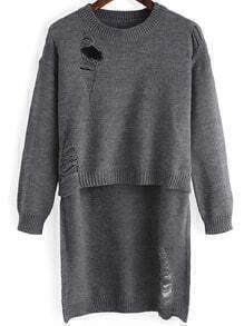Grey Round Neck Ripped Dip Hem Sweater