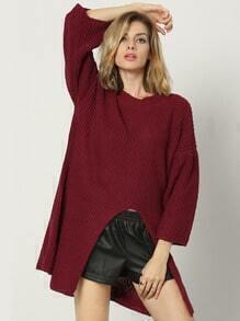 Burgundy Round Neck Split Loose Sweater
