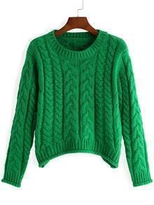 Green Round Neck Cable Knit Crop Sweater