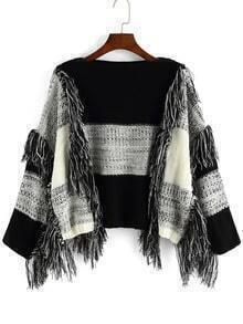 Black White Round Neck Tassel Crop Sweater