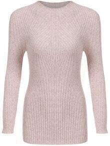 Khaki Mock Neck Long Sleeve Slim Knitwear