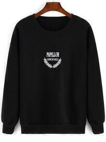 Black Round Neck Letters Embroidered Sweatshirt