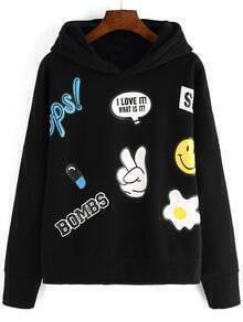 Black Hooded Cartoon Print Loose Sweatshirt
