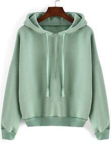 Green Hooded Long Sleeve Loose Crop Sweatshirt