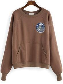 Coffee Round Neck Cartoon Print Crop Sweatshirt