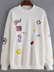White Round Neck Cartoon Print Loose Sweatshirt