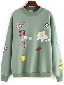 Green Round Neck Cartoon Print Loose Sweatshirt