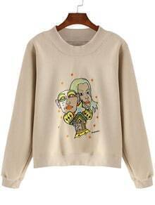 Apricot Stand Collar Cartoon Embroidered Sweatshirt