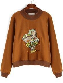 Khaki Stand Collar Cartoon Embroidered Sweatshirt