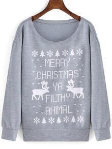 Grey Round Neck Letters Deer Print Sweatshirt