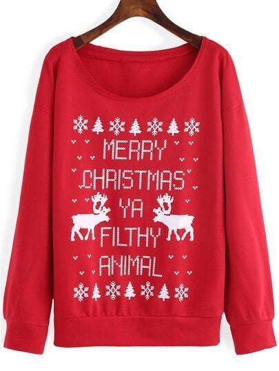 Red Round Neck Letters Deer Print Sweatshirt