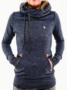 Blue Hooded Long Sleeve Pockets Sweatshirt