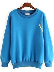Blue Round Neck Toothbrush Print Sweatshirt