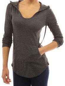 Grey Hooded Long Sleeve Slim T-Shirt