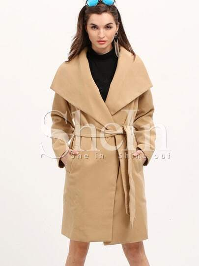 Khaki Long Sleeve Lapel Coat pictures
