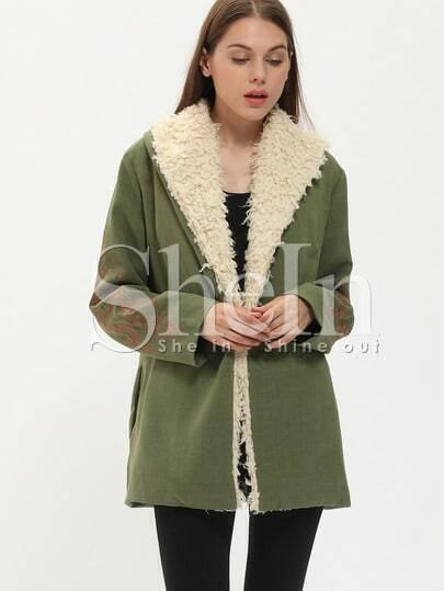 Army Green Long Sleeve Embroidered Coat