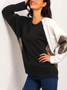 Black White Long Sleeve Color Block Sweatshirt