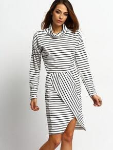 Black White Long Sleeve Striped Top With Skirt