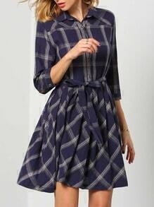 Navy Lapel Plaid Pleated Dress