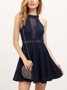 Navy Sleeveless Hollow Flare Dress