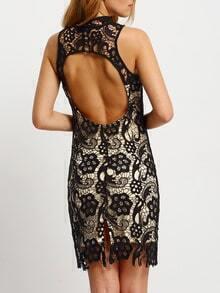 Black Sleeveless Lace Bodycon Dress
