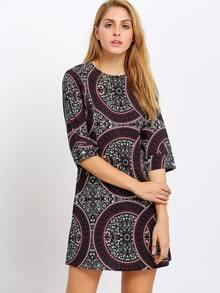 Multicolor Round Neck Vintage Print Pockets Dress
