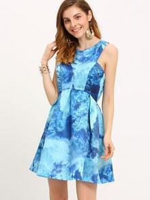 Blue Sleeveless Print Flare Dress