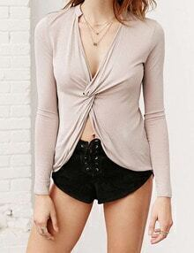 Women Apricot Knotted Front Dip Hem Tshirt