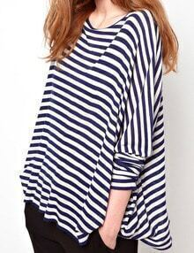 Blue And White Striped Dropped Shoulder Seam Tshirt
