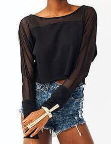 Women Black Mesh Insert Crop Tshirt