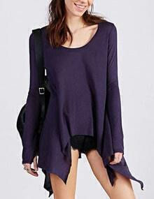 Purple Scoop Neck Asymmetrical Hem Tshirt