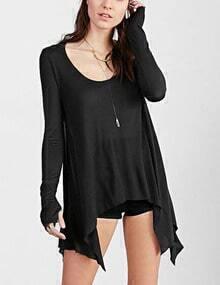 Black Scoop Neck Asymmetrical Hem Tshirt