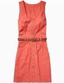 Orange Button Front Belted Vest Dress