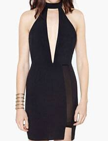 Mock Neck Plunge Mesh Insert Bodycon Dress