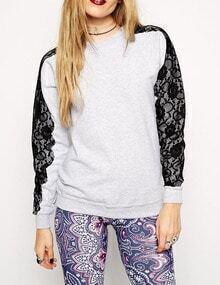 Grey Lace Embroidered Sleeve Sweatshirt