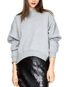 Grey Dropped Shoulder Seam Zipper Side Sweatshirt