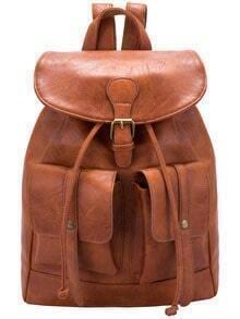 Brown Buckle Drawstring PU Backpack
